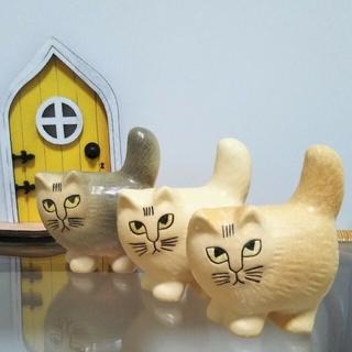 Lisa Larson - リサラーソン モア ミニ グレー ブラウン ホワイト Moa 猫 小さな扉付き