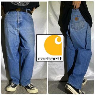 carhartt - Carhartt カーハート 革ロゴ ストレート デニムパンツ インディゴブルー