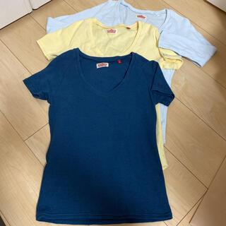 ハリウッドランチマーケット Tシャツ 半袖 ネイビー 黄色 水色 ハリラン V(Tシャツ(半袖/袖なし))