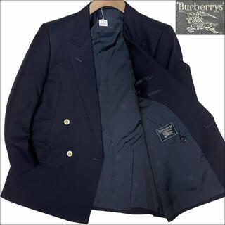 バーバリー(BURBERRY)のJ3025 美品 バーバリー ヴィンテージ 金ボタン ダブル 紺ブレザー AB4(テーラードジャケット)