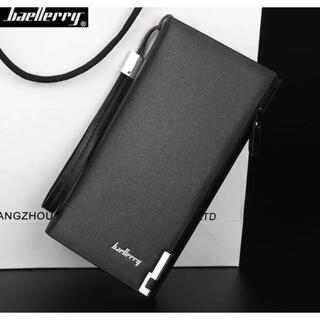 新品 多機能 大容量 ビジネス メンズ ブラック ラウンドジップ ウォレット(長財布)