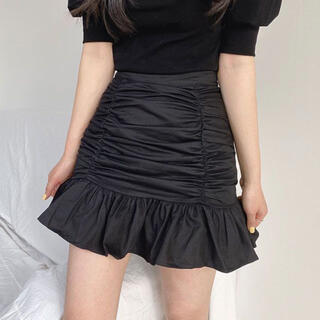スタイルナンダ(STYLENANDA)の【予約商品】《2カラー》シャーリング ミニ スカート 韓国ファッション(ミニスカート)