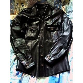エーアンドジー(A&G)のエーアンドジーA&Gレザー シャツ ジャケット革クロスパッチ フレアニー (レザージャケット)