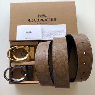 コーチ(COACH)の7月限定価格 COACH 新品正品/バックル回転/レザーベルトリバーシブル(ベルト)