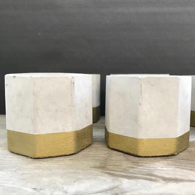 お値下げ ハンドメイド 多肉植物用セメント鉢6点セット ゴールド  ハンドメイドのフラワー/ガーデン(プランター)の商品写真