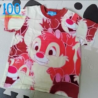 チップアンドデール(チップ&デール)の*オリエンタルランド*チップとデール 総柄 半袖Tシャツ*100センチ*(Tシャツ/カットソー)