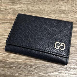 グッチ(Gucci)の美品 グッチ カードケース 名刺入れ レザー ネイビー(名刺入れ/定期入れ)