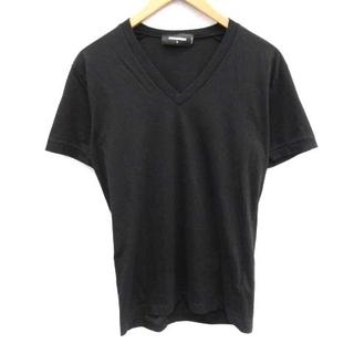 ディースクエアード(DSQUARED2)のディースクエアード Tシャツ カットソー 半袖 Vネック S 黒 ブラック(Tシャツ(半袖/袖なし))