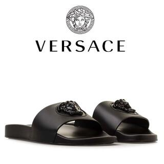 ヴェルサーチ(VERSACE)の4 VERSACE ブラック パラッツォ メデューサ サンダル 43.0(サンダル)