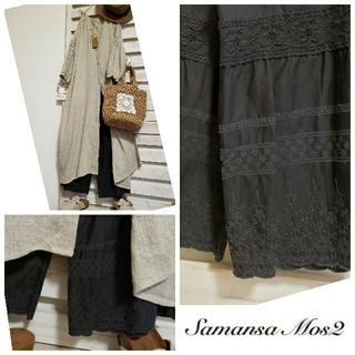 サマンサモスモス(SM2)のタコ🐙様 Sm2/裾レース&スカラップ ペチパンツ&新品 袖刺繍ワンピ 2点 (セット/コーデ)