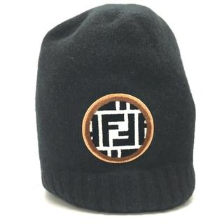 フェンディ(FENDI)のフェンディ FXQ538 ズッカ FFロゴ ワッチキャップ ニット帽 ブラック(ニット帽/ビーニー)