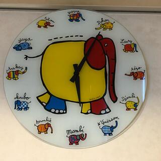 イデアインターナショナル(I.D.E.A international)のAndree Prigent  ゾウのイラスト 大きなガラス時計(掛時計/柱時計)