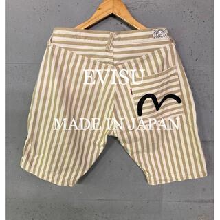 エビス(EVISU)のEVISU 黒カモメストライプショートパンツ!日本製!(ショートパンツ)