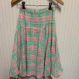 ツモリチサト(TSUMORI CHISATO)のツモリチサト サッカー地 チェック フレアー スカート サイズ2(ひざ丈スカート)