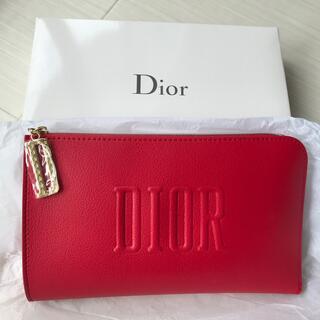 ディオール(Dior)のディオール Dior ポーチ レッド ノベルティ 非売品 ロゴ チャーム 新品(ポーチ)