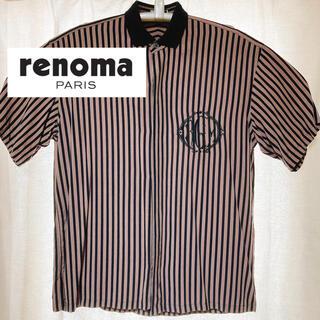 レノマ(RENOMA)のrenomaPARIS ストライプシャツ半袖 ブラウン 古着 比翼仕立て(シャツ)
