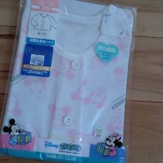 ディズニー(Disney)の新品 ベビー 長袖シャツ ボタン ミッキーマウス サイズ70(シャツ/カットソー)
