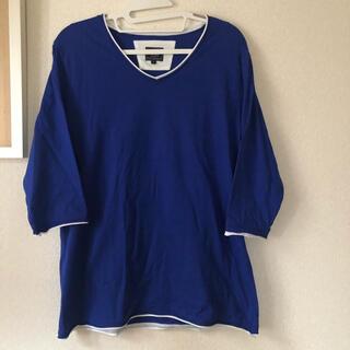 ビームス(BEAMS)のbeams heart 七分袖 Vネック Tシャツ Mサイズ ブルー(Tシャツ(長袖/七分))