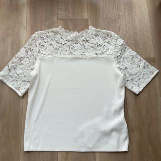 エムプルミエ(M-premier)のMプルミエ スカラップレース切替 半袖トップス ホワイト 36 完売(カットソー(半袖/袖なし))