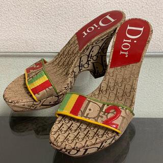 クリスチャンディオール(Christian Dior)の美品 ディオール サンダル ヒール トロッター ラスタ 23.5~24cm(サンダル)