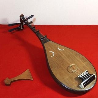 筑前琵琶 四弦五柱 木製 バチ付き 和楽器 象牙風 雅楽 古美術 骨董