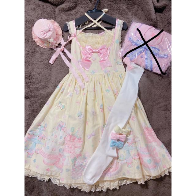 Angelic Pretty(アンジェリックプリティー)のレア!Decoration Dream胸切替ジャンパースカート3点セット レディースのワンピース(ひざ丈ワンピース)の商品写真
