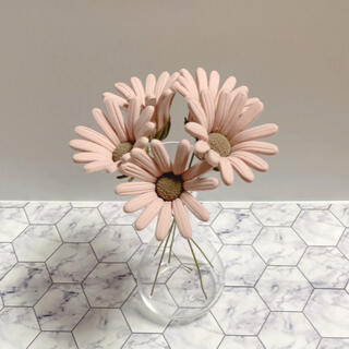 マーガレット くすみピンク クレイフラワー 5本セット 造花(その他)