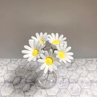 マーガレット クレイフラワー ホワイト 5本セット 造花(その他)
