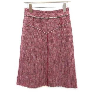 クロエ(Chloe)のクロエ 17SS スカート ツイード ロング ミモレ丈 34 S ピンク 紫(ロングスカート)