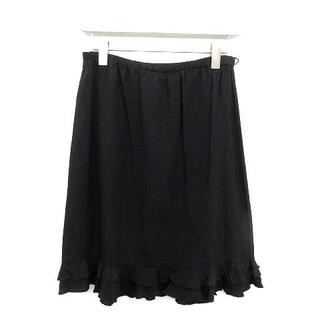 グッチ(Gucci)のグッチ スカート ひざ丈 フレア フリル シルク 38 M 黒 ブラック /NM(ひざ丈スカート)