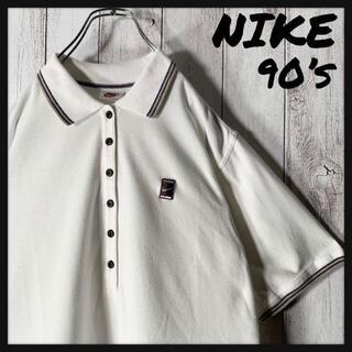 ナイキ(NIKE)の【白タグ 90s】ナイキ スウッシュ 刺繍ロゴ ラインリブ ポロ レディース 白(ポロシャツ)