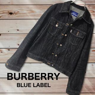 バーバリーブルーレーベル(BURBERRY BLUE LABEL)のバーバリーブルーレーベル Gジャン 袖口裾ノバチェック ブラック サイズ38(Gジャン/デニムジャケット)
