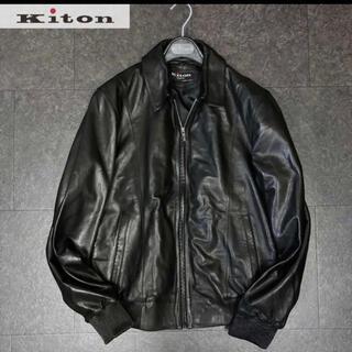 キトン(KITON)のkiton キートン 98万最高級ラムレザーブラックジャケット(レザージャケット)