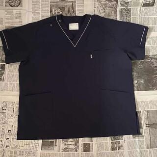 ミズノ(MIZUNO)の5L Mizuno ミズノ ストレッチスクラブ 白衣 ネイビー(Tシャツ/カットソー(半袖/袖なし))