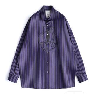SHAREEF - シャリーフ shareef ストライプ 刺繍 BIG シャツ オーバーサイズ