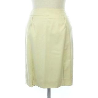 クリスチャンディオール(Christian Dior)のクリスチャンディオール タイト スカート ミニ 無地 切替 ウール 白 38(ひざ丈スカート)