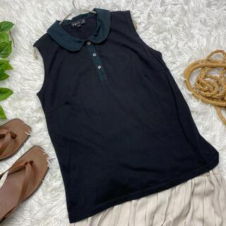 アニエスベー(agnes b.)のアニエスベー ノースリーブ 丸襟付きシャツ カットソー メイドインフランス(シャツ/ブラウス(半袖/袖なし))