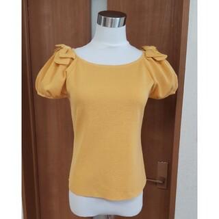 エムズグレイシー(M'S GRACY)の(未使用品タグ付き)エムズグレイシー38 肩リボンのパフスリーブサマーニット(Tシャツ(半袖/袖なし))
