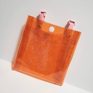 移動ポケット ふたなし pvc キラキラ オレンジ A13(外出用品)