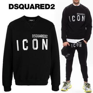 ディースクエアード(DSQUARED2)のDSQUARED2 ブラック ICON ロゴ トレーナー size L(スウェット)