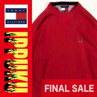 トミーヒルフィガー(TOMMY HILFIGER)の90年代 トミーヒルフィガー ニット セーター エンブレム刺繍 ロゴ(ニット/セーター)