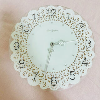 Francfranc - レース柄*ガラス壁掛け時計
