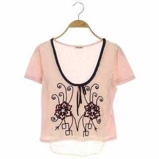 ミュウミュウ(miumiu)のミュウミュウ Tシャツ カットソー 半袖 デザイン S ピンク ベージュ(Tシャツ(半袖/袖なし))
