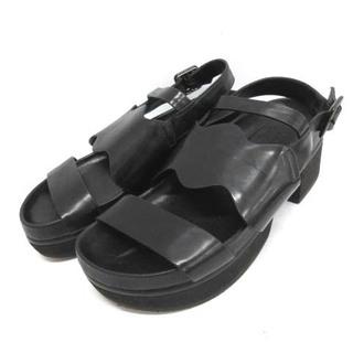 エンフォルド(ENFOLD)のエンフォルド 37 23.5cm サンダル 厚底 レザー ベルト 黒 ブラック(サンダル)