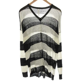 glamb - グラム ニット セーター Vネック 長袖 ブラックボーダー 麻 1 S 黒 白