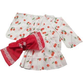 西松屋 - 新品 未使用 90cm 浴衣ドレス セパレート浴衣 赤 帯つき 3点セット