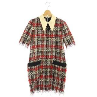 グッチ(Gucci)のグッチ ツイード リボン ワンピース 半袖 ミニ 襟付き 36 マルチカラー (ミニワンピース)