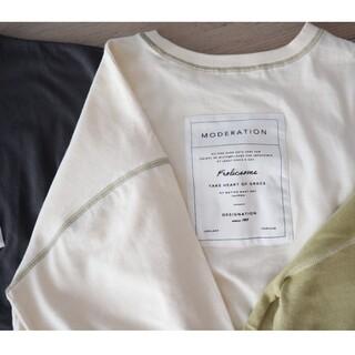 ウィゴー(WEGO)のバックプリントタグタタキツケTシャツ  オフホワイト アイボリー(Tシャツ(長袖/七分))