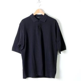 コモリ(COMOLI)の【20ss】comoli 鹿の子 半袖 ポロシャツ サイズ 2 ネイビー(ポロシャツ)
