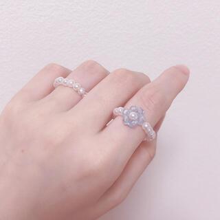 韓国 ビーズリング 指輪 ハンドメイド パール風(リング)